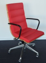 ForaForm Getz konferansestol i rødt stoff / bjerk / krom, pent brukt