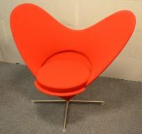"Vitra / Verner Panton ""Heart cone chair"", hjertestolen i rødt stoff, pent brukt"