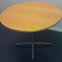 Rundt bord i bøk / grått, Ø=90cm, H=72cm, pent brukt