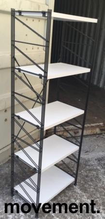 Caimi Socrate Italiensk designbokhylle i sort med grå hylleplater, bredde 60cm, høyde 162cm, 5 hylleplater, pent brukt bilde 2