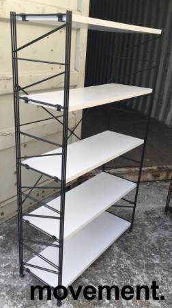 Caimi Socrate Italiensk designbokhylle i sort med grå hylleplater, bredde 100cm, høyde 162cm, 5 hylleplater, pent brukt bilde 2