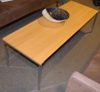 Loungebord / sofabord fra Edsbyn i eik / krom, 140x50x53cm, E-pos serie, pent brukt