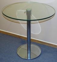 Lite, rundt glassbord med justerbar høyde,understell i krom, Ø=70cm H=70-91cm, pent brukt