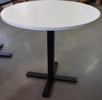 Lekkert loungebord / lite, rundt møtebord, hvit bordplate / sort understell, Ø=80cm H=73,5cm, pent brukt