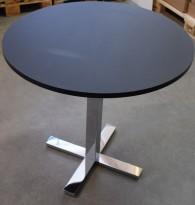Lekkert loungebord / lite, rundt møtebord, i matt sort / krom, Ø=80cm H=74cm, pent brukt