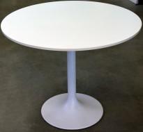 Lekkert loungebord i hvitt / lite, rundt møtebord Ø=89cm, H=71,5cm, Zeta / Brødr Andersen, pent brukt