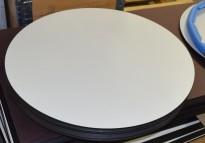 Bordplate fra Sedus i hvitt med sort kant/underside, rund bordplate, Ø=70cm 15mm tykkelse, pent brukt