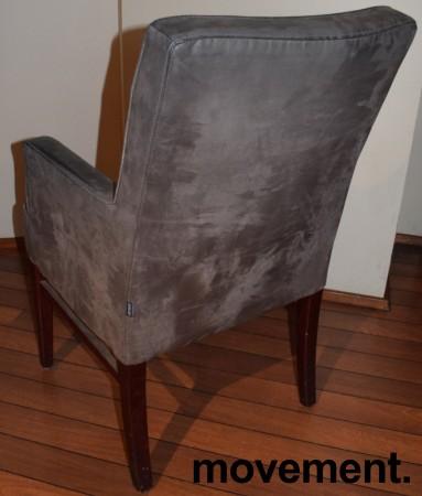 Restaurantstoler fra Satelliet i grå mikrofiber, høy modell med armlener, pent brukt bilde 4