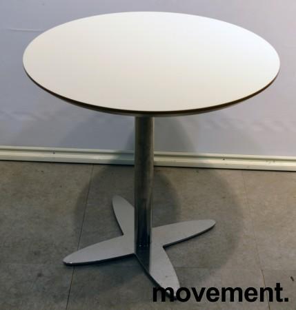 Lekkert, rundt loungebord / lite møtebord i hvitt med kant i lakkert MDF/krom, Ø=70cm, H=72cm, pent brukt med ny plate bilde 1