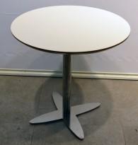 Lekkert, rundt loungebord / lite møtebord i hvitt med kant i lakkert MDF/krom, Ø=70cm, H=72cm, pent brukt med ny plate