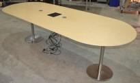 Møtebord i bjerk / satinert stål, 270x100cm, passer 8-10 personer, pent brukt
