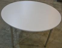 Lekkert rundt klappbord / møtebord i hvitt / satinert stål, Ø=120cm, H=72cm, pent brukt