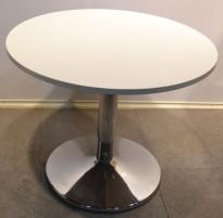 Lekkert loungebord / møtebord i hvitt / krom, Ø=90cm, H=73cm, pent brukt