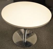 Lekkert loungebord / møtebord i hvitt / krom, Ø=90cm, H=74cm, pent brukt
