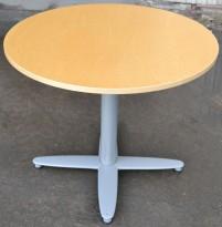 Loungebord i bjerk / grålakkert metall fra Kinnarps, T-serie, Ø=90cm, høyde 73cm, pent brukt