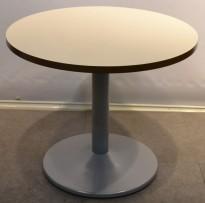 Loungebord i hvitt  / grått, Ø=90cm, høyde 73cm, pent brukt