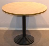 Loungebord i bjerk laminat / sort, Ø=90cm, høyde 73cm, pent brukt