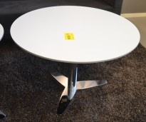 Loungebord / sofabord fra Duba B8, Luna i hvitt med sort kant / krom, Ø=80cm, høyde 54cm, pent brukt