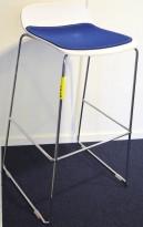 Duba B8 Molo barkrakk / barstol i hvitt / krom, sittepute i mørk blå, design: Norway Says, sittehøyde 80cm, pent brukt