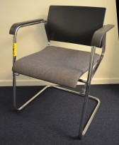 Wilkahn Sito konferansestol / besøksstol i grått stoff / krom, pent brukt