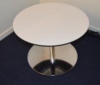 Loungebord / sofabord fra Duba B8, hvitt med sort kant / krom, Ø=60cm, høyde 44cm, pent brukt