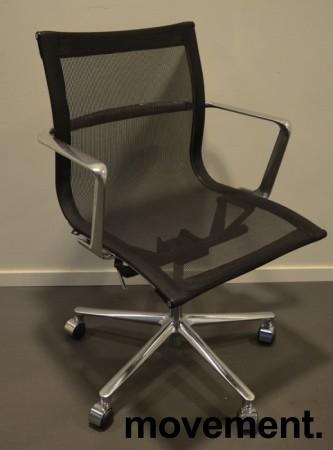 Konferansestol i sort mesh  / polert aluminium fra ICF, UNA Chair, med hjul og sving, pent brukt bilde 1