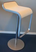 Lekker barkrakk / barstol, LaPalma Lem i hvitt / satinert stål, sittehøyde 81cm, pent brukt