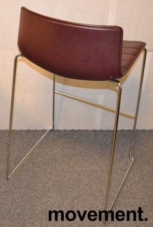 Arper Catifa barkrakk i lilla / aubergine skinn / krom, 77cm sittehøyde, pent brukt bilde 2