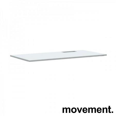Hvit, rektangulær bordplate til skrivebord med kabelluke på høyre side, 160x80cm, kabelluke i grått, NY/UBRUKT