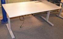 Skrivebord med elektrisk hevsenk fra Linak i hvitt / grått, 160x80cm med kabelluke og kabelbrønn, NY / UBRUKT
