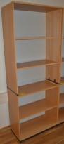 Høy bokhylle E-serie i bøk fra Kinnarps, 5permhøyder, 203cm høyde, pent brukt
