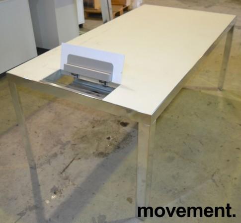 Møtebord / konferansebord fra Unifor i frostet hvitt glass / krom, 180x90cm, passer 6 personer, pent brukt bilde 2