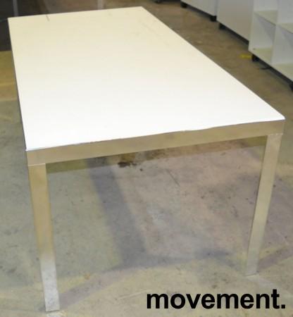Møtebord / konferansebord fra Unifor i frostet hvitt glass / krom, 180x90cm, passer 6 personer, pent brukt bilde 1