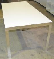 Møtebord / konferansebord fra Unifor i frostet hvitt glass / krom, 180x90cm, passer 6 personer, pent brukt