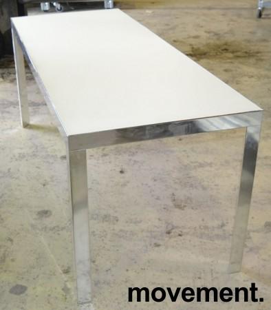 Møtebord / konferansebord / skrivebord fra Unifor i frostet hvitt glass / krom, 180x70cm, passer 6-8 personer, pent brukt bilde 1