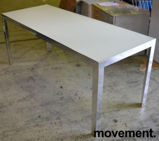 Møtebord / konferansebord / skrivebord fra Unifor i frostet hvitt glass / krom, 180x70cm, passer 6-8 personer, pent brukt bilde 2