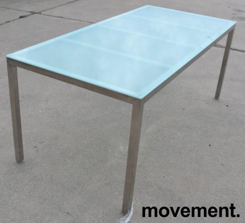 Møtebord / konferansebord / skrivebord fra IKEA i frostet glass / krom, 180x85cm, passer 6-8 personer, pent brukt bilde 1