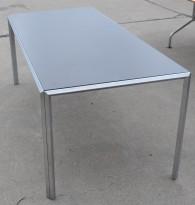 Møtebord / konferansebord / skrivebord i grått / rustfritt stål, 185x80cm, passer 6-8 personer, pent brukt