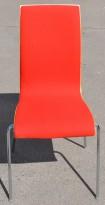 Konferansestol i bøk / rødt stoffsete / krom ben, RBM Bella, brukt