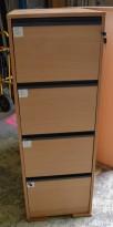 Arkivskap for hengemapper i bøk, 4 skuffer, 47cm bredde, 138cm høyde, pent brukt
