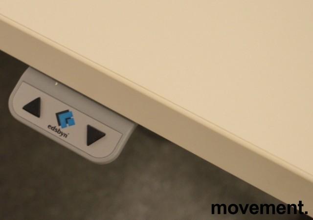 Skrivebord med elektrisk hevsenk fra Edsbyn i hvitt med sort understell, 160x80cm, pent brukt bilde 4
