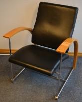 ForaForm besøksstol / lenestol i krom/ bøk/ sort skinn, modell TRES, pent brukt