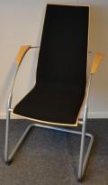 Konferansestol i bøk / sort stoff / grålakkerte ben, pent brukt