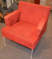 Loungestol i rødt mikrofiberstoff fra Kinnarps, Meo-serie, pent brukt