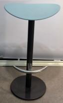 Barkrakk / barstol i turkis / sort / krom, 76cm sittehøyde, pent brukt