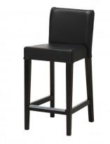 Barkrakk / barstol fra Ikea, modell Henriksdal i sort skinn / sort treverk, 74cm sittehøyde, pent brukt