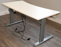 Elektrisk hevsenk skrivebord i hvitt / grått, 160x80cm med magebue, brukt