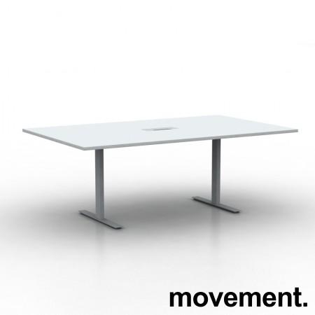 Møtebord i hvitt med kabelluke og kabelsamler, 200x120cm, passer 6-8personer, NY / UBRUKT bilde 1