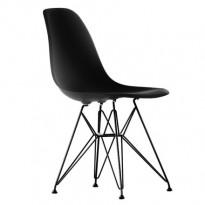 Vitra DSR designstoler i Basic Dark (Sort) / ben i sortlakkert metall, Design: Charles & Ray Eames, NY SITTEHØYDE, UBRUKT