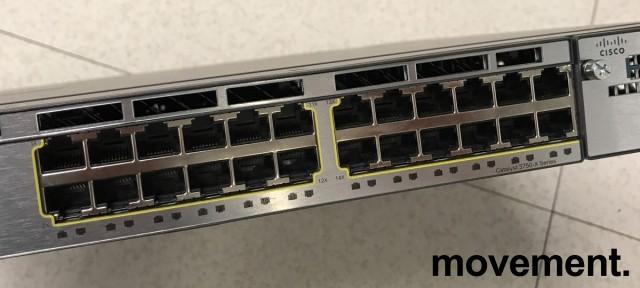 Cisco Catalyst WS-C3750X-24T-S, 24port 1units rackmount switch, pent brukt 2013-modell bilde 6